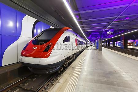intercity train at zurich airport railway