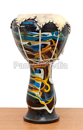 djembe conga drum isolated on wooden