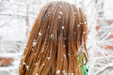 the girls head in snowflakes snowflakes
