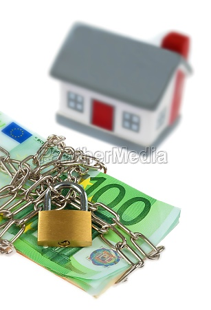 house with bills chain and padlock