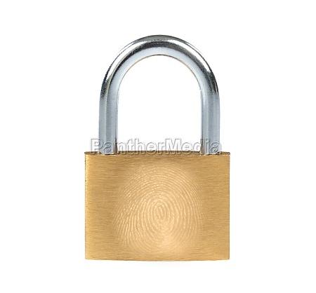 metal padlock and fingerprint