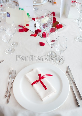 table set for a wedding reception