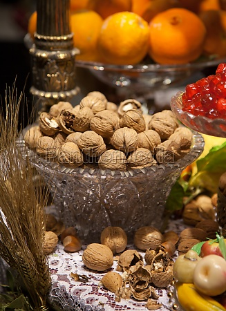 nuts in glass bowl