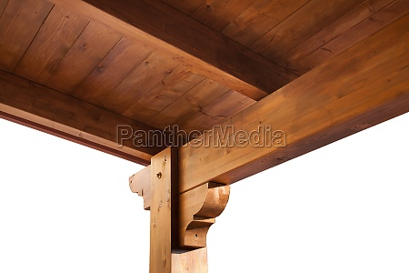 wooden porch roof view from inside