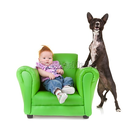 toddler with a little black dog