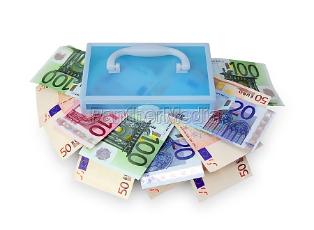 plastic box with euro banknotes