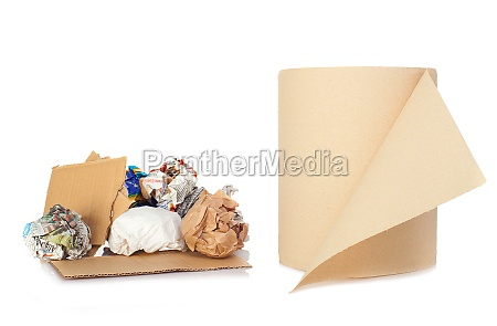 roll and balls of recycled paper