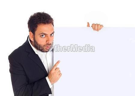 businessman shows a billboard