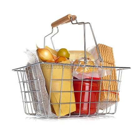 the shopping basket with various food
