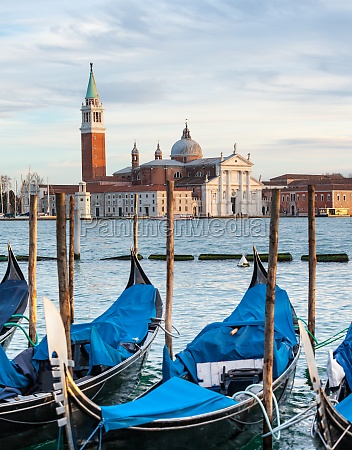 gondolas and san giorgio maggiore church
