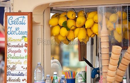 lemon ice cream kiosk in capri