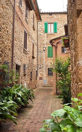 beautiful street of pienza in tuscany