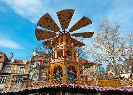 typical wooden christmas carousel munich