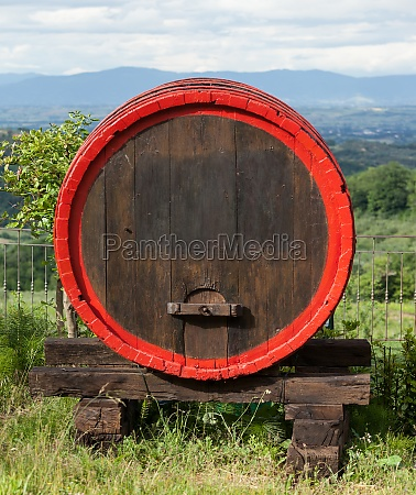 wooden barrel for wine placed in