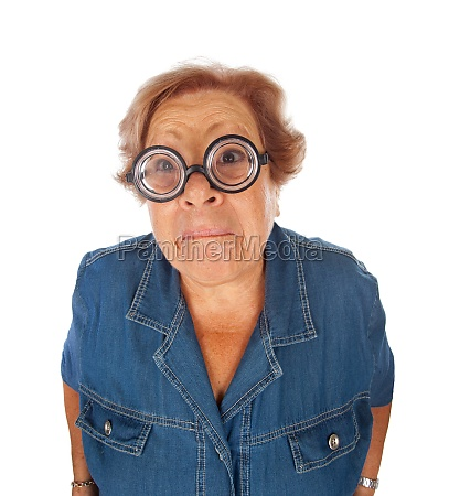 elderly woman surprised with funny glasses