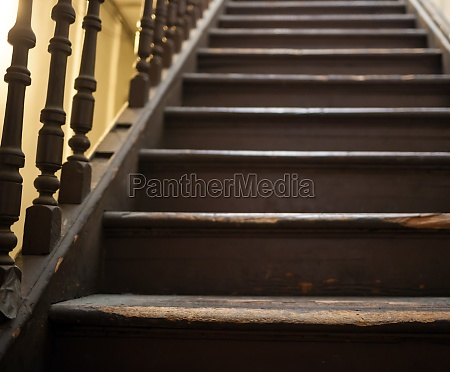 vintage stairs selective focus on the