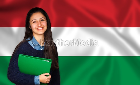 teen student smiling over hungarian flag
