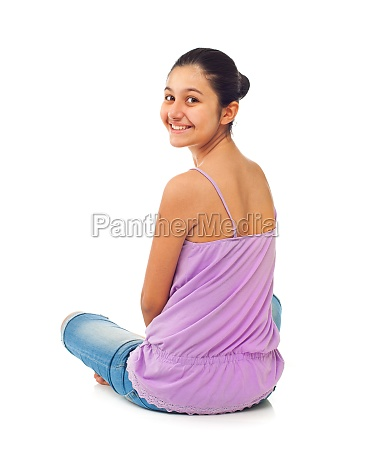 sitting teenage girl from behind