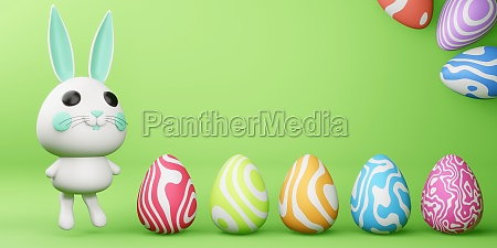 happy easter day cute bunny with