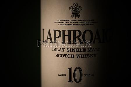 laphroaig single malt whisky bottle