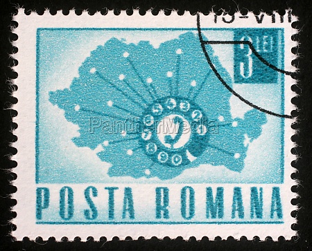 stamp printed in romania map showing