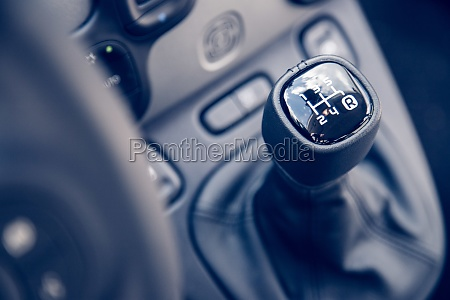 sports car shift lever interior of