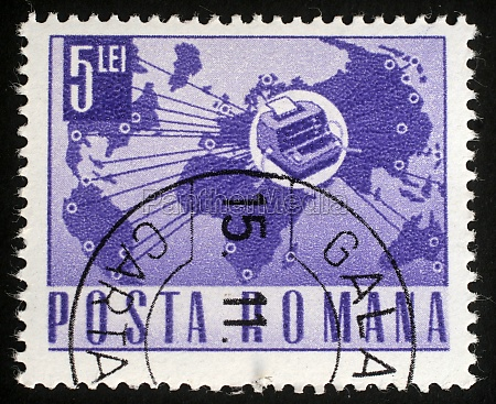 stamp printed in romania shows telex