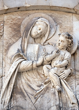bas relief representing the virgin mary