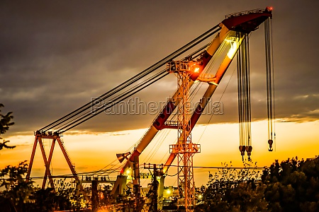 maritime crane and sunset