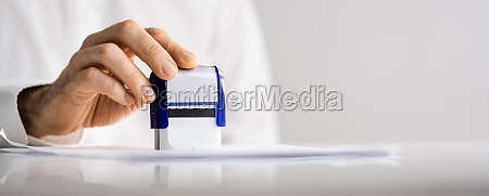 approved paper document stamp