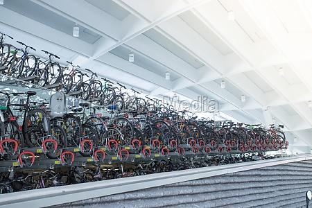 bike rack on a train station