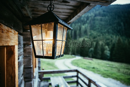 lantern is hanging in on the