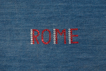 inscription rome inlaid rhinestones on denim