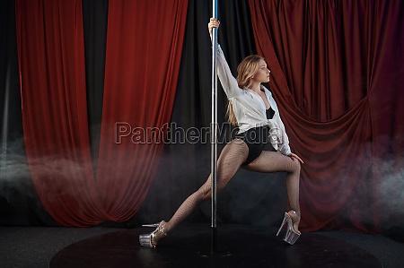 sensual showgirl in lingerie striptease dancer