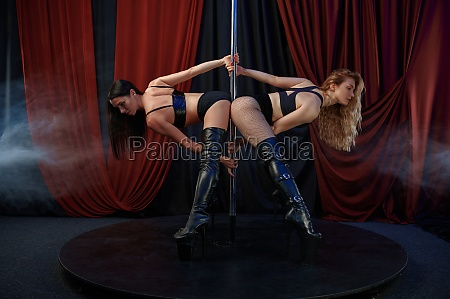 two sexy striptease dancers on stage