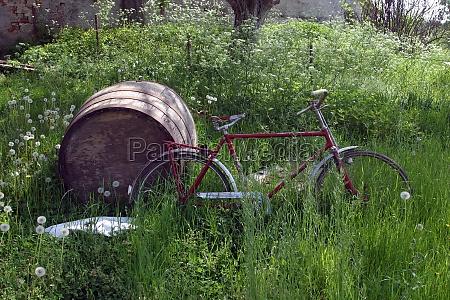 red bike and barrel