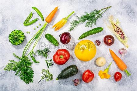fresh select seasonal vegetables on light