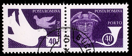 stamp printed in romania shows pigeons