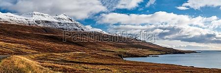 mountain view in reydarfjordur on the