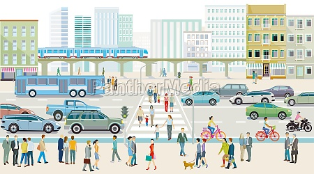 city silhouette with people on the