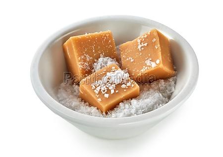 pieces of creamy caramel fudge in