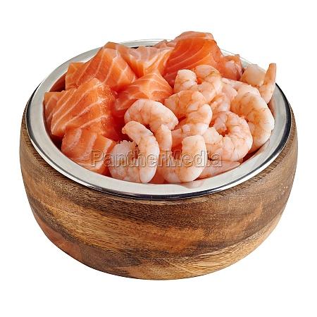 bowl of premium seafood pet food