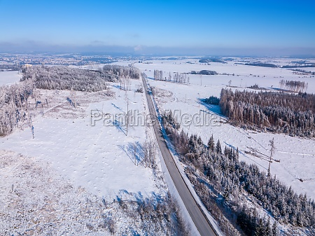aerial view of winter highland landscape