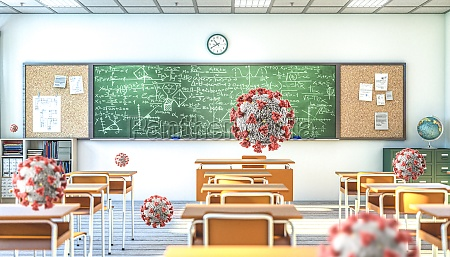 school interior and covid 19 virus