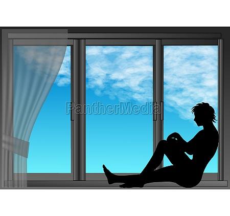 woman on the edge of window