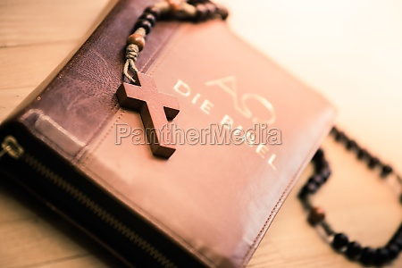 holy bible and rosary christian bible