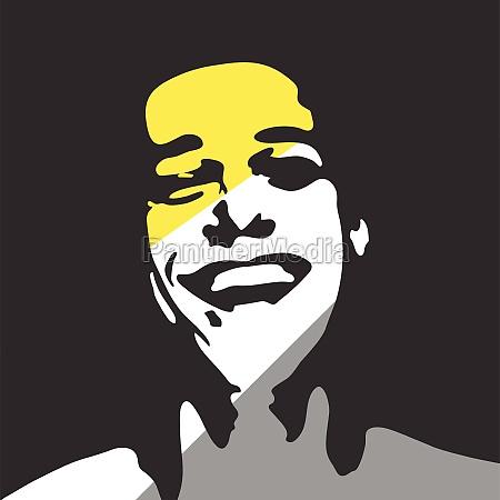 happy man portrait vector silhouette