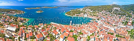 town of hvar aerial panoramic view