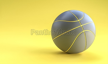 gray basketball ball on yellow background
