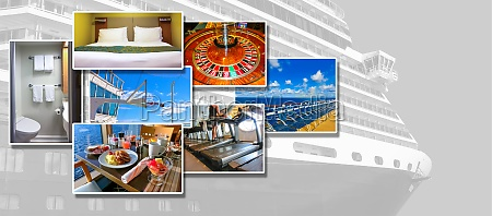 collage about abstract cruise ship